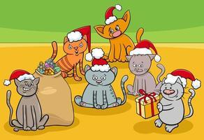 Grupo de personajes de dibujos animados de gatitos en Navidad
