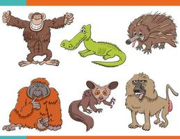 Set of cartoon funny wild animals characters