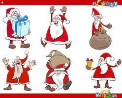 dibujos animados santa claus navidad vacaciones personajes set