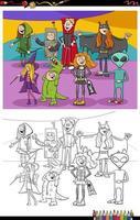Dibujos animados grupo de personajes de halloween página de libro para colorear