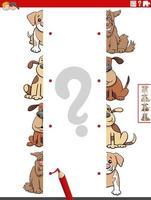 Emparejar mitades de imágenes con perros tarea educativa