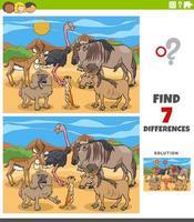 Diferencias tarea educativa para niños con animales.