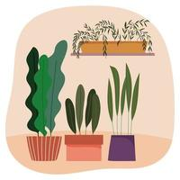 Potted plants composition vector