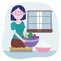mujer joven cocinando vector