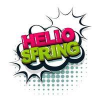 hola primavera texto cómico estilo pop art vector