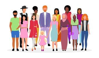 Multicultural people group flat vector illustration.