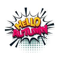 hola otoño texto cómico estilo pop art vector