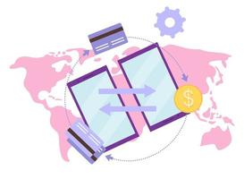 Global payment system flat vector illustration