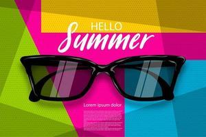 Summer time sunglasses, halftone pop art