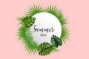 Tropical background palm leaves template vector