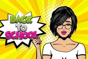regreso a la escuela chica pop art comic text vector