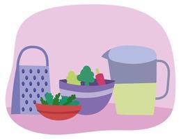 Kitchen utensils and veggies in bowls vector