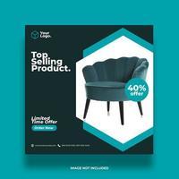 Social media teal furniture template vector
