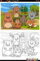 Cartoon funny wild animals group coloring book page vector