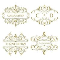 Collection of floral ornaments vector