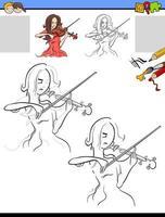 tarea de dibujo y colorear con niña tocando el violín vector