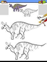 tarea de dibujo y colorear con dinosaurio lambeosaurus vector