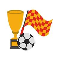 Soccer sport tournament flag and trophy