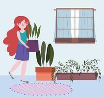 Mujer joven con plantas en macetas en el interior