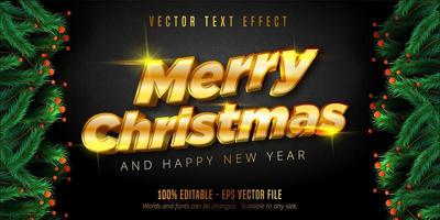 Shiny gold Christmas style editable text effect vector