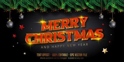 Shiny red and gold Christmas style editable text effect