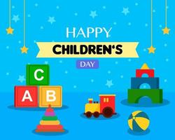 Flat World Children's Day Design with Toys