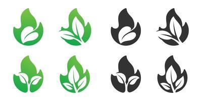fuego y hoja espacio negativo diseño de logotipo conjunto