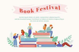 plantilla de vector de cartel plano festival de libro.