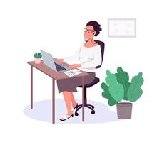 Woman working with laptop, flat color vector, faceless character.