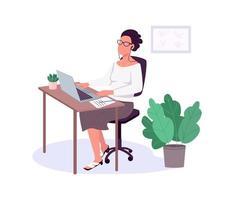 mujer que trabaja con computadora portátil, vector de color plano, personaje sin rostro.