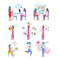 conjunto de ilustraciones vectoriales planas de estilo de vida saludable.