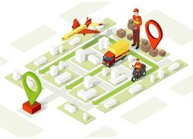 Smart delivery, isometric illustration