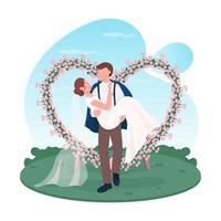 pareja de recién casados, banner web de vector 2d, cartel.