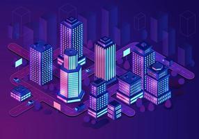 edificios inteligentes, ilustración isométrica vector