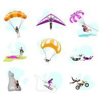 Conjunto de ilustraciones vectoriales planas de deportes extremos. vector