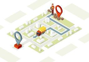 Ilustración de vector isométrico de servicio de entrega