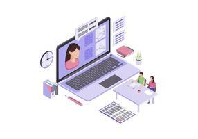 Ilustración de vector de color isométrico de educación en línea