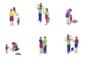 tiempo en familia, isométrico, color, vector, ilustraciones, conjunto vector