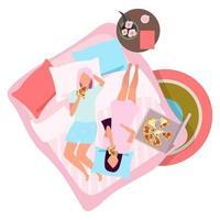 novias comiendo pizza ilustración vectorial plana.