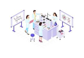 Scientists, chemists, geneticist, research workers isometric color vector illustration