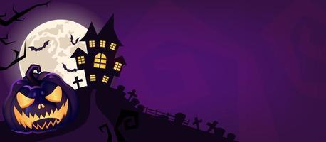 Fondo de vector púrpura de miedo de Halloween.