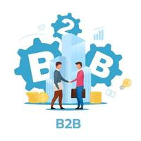 Business-to-business model flat vector illustration.