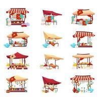 Bazaar trade tents cartoon vector illustrations set.