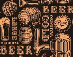 Orane and black retro seamless pattern with beer theme vector