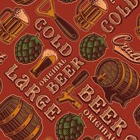 Colorful seamless pattern with beer theme in vintage style vector