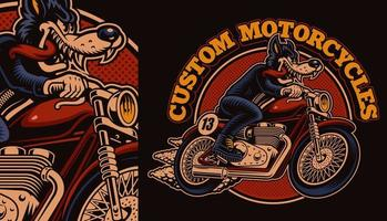 Colorful wolf biker on motorcycle shirt design vector