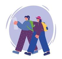 Young women walking with map and backpacks vector