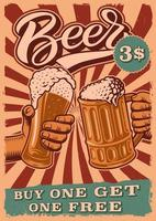 Vintage beer poster with people clinking glasses