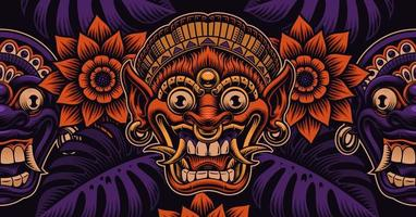 Beautiful Asian pattern with traditional Bali masks and foliage vector