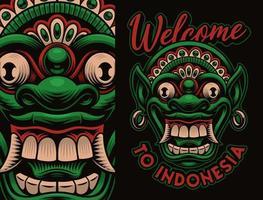 Colorful traditional Bali Barong mask shirt design vector